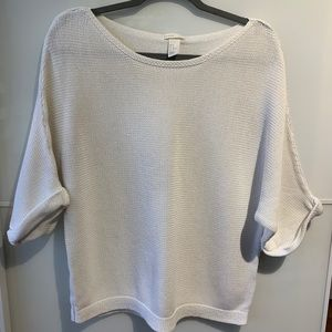 H&M slouchy boatneck white sweater